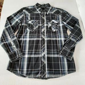 BKE Plaid Pearl Snap Western Shirt
